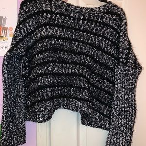 Forever 21 Black and White Cropped Sweater
